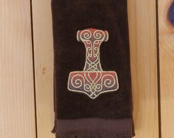 Scandinavian Norwegian Swedish Danish Viking Thor's Hammer  Embroidered Towel (#66)