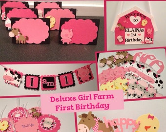 Deluxe Girl Farm First Birthday Package