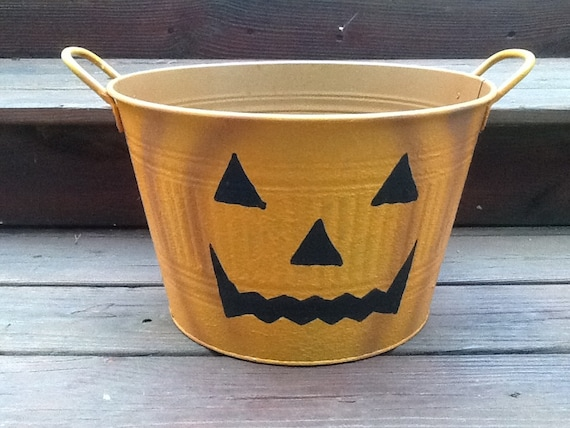 Large Orange Halloween Tin Bucket With Pumpkin By