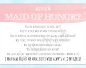 Will You Be My Maid of Honor Card - Maid of Honor Invitation - Maid  Poem - Will You Be My Bridesmaid Card