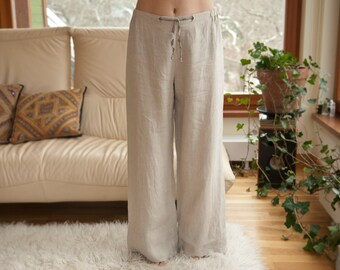 Pure Linen Pajama Pants for Women