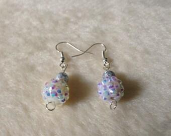 White Earrings, Glittery Earrings, Sparkly Earrings, White Jewellery,  Glittery Jewellery, Sparkly Jewellery, White Drop Earrings