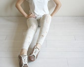 Beige Knitted Stretch Tight  Pants Ripped Leggings Legwarmer