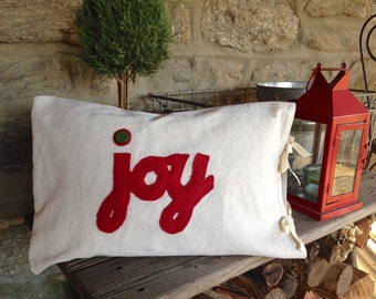 "Christmas/Holiday Linen ""Joy"" Pillow Cover-13"" x 18"""