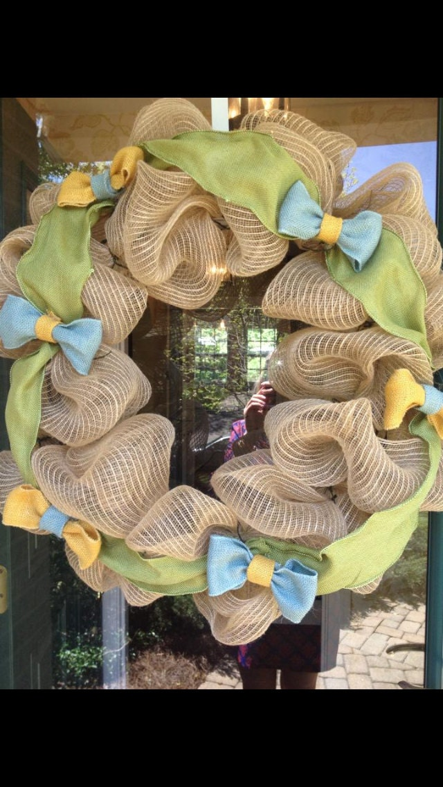 bow tie themed wreath for baby shower or gift