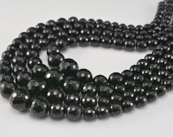 black onyx graduation beads - faceted round black beads - natural gemstone beads - black beads -jewelry making beads - beads supplies-15inch