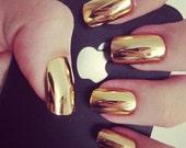 Gold/Silver Chrome metallic 24pcs Nails Set (10g nail glue included)
