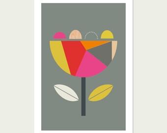Scandi Flower (Pink and Red) Modern Art Print, Geometric Art, Scandinavian Art, Modern nursery art.