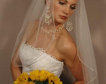 """Wedding veil with swaroyski crystal edging. Bridal veil 25"""" length with rhinestones edging."""