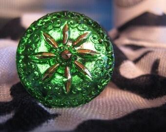 Gold Aster in Emerald Green Czech Glass Button 27mm