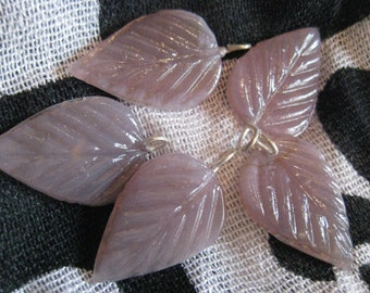 Lavender Leaves in Czech Glass Bead with Wire Set of 5