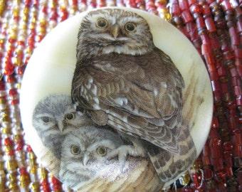 Owl Trio Family Czech glass Button 42mm