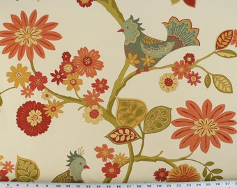 Birds Fabric, Coral/Orange/Blue Green/Red Florals, CottageGardenFabric, Drapery/Upholstery/Decor Fabric. (1) Yard 36'' Length, 55'' Width