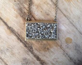 Pyrite Dust Rectangle Necklace
