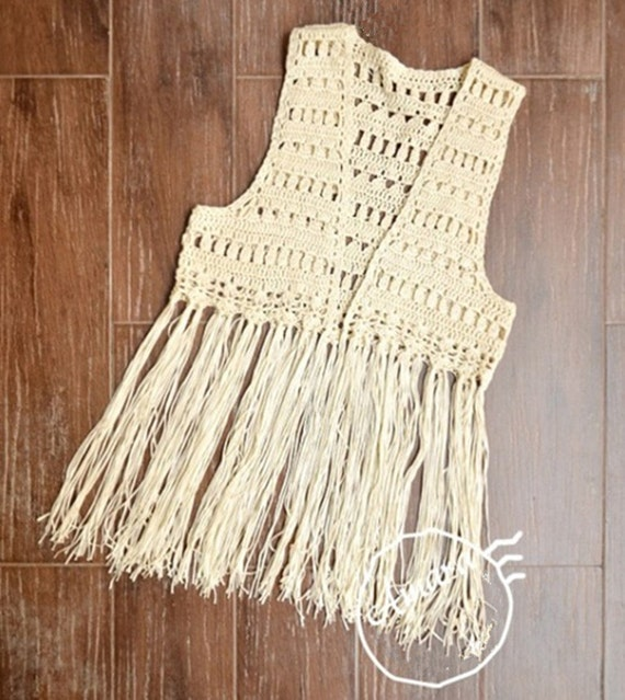 Crochet Fringed Vest FESTIVAL VEST Elongated by ...