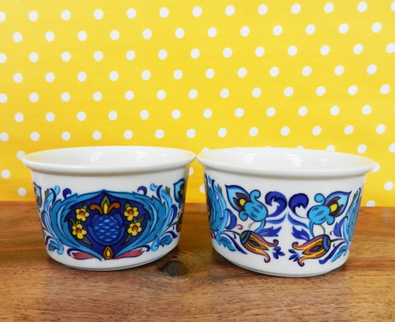 image vintage villeroy and boch ramekins blue retro flower floral design
