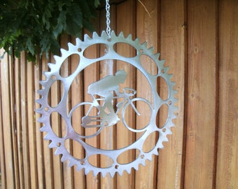 Large Bicyclist Wind Spinner