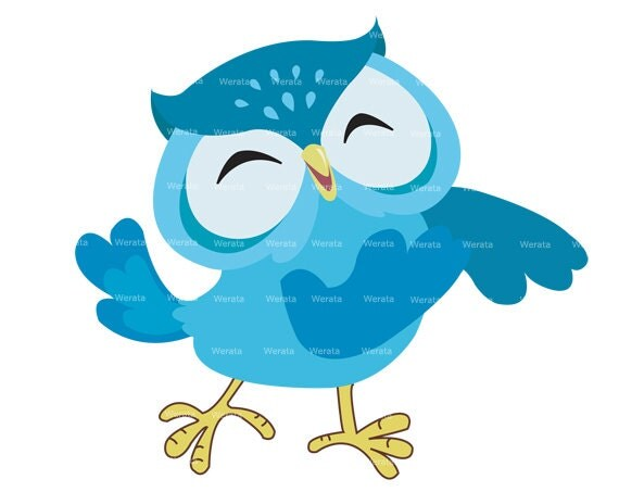 blue owl clip art digital clipart Owl graphics owl by Werata