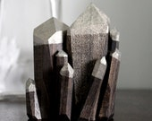 Handmade Faceted Wood Quartz Crystal Point Sculpture - stoneandviolet