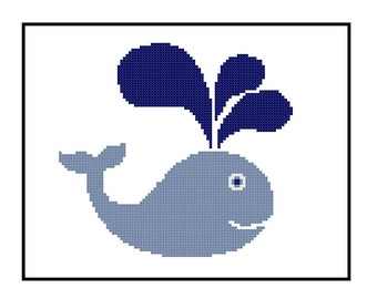 Whale Cross Stitch Pattern | Infant Room Decor | Handmade Gift PDF Pattern | Sea Life Nursery DIY | Easy Project