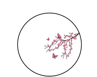 Cross Stitch Pattern - Cherry Blossom Tree Branch and Butterflies, Xstitch PDF Pattern Instant Download