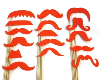 Photo Booth Props- 16 Piece Mustache Variety Set - Choose your Color