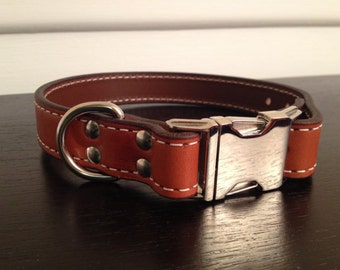 The Oxford - Tan Leather Dog Collar (12-14)