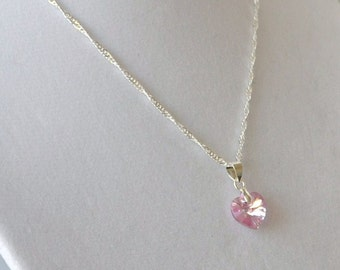Girls Children's Kid's Special Occasion Jewelry Flower Girl Necklace - Swarovski Heart Crystal - Customize Wedding Bridal Party