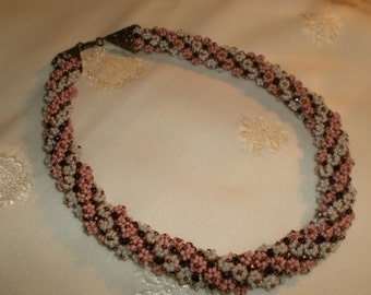 Pink, White & Bronze Floral Beaded Necklace - Beaded Crochet Necklace