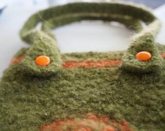 Felted wool shoulder bag, handmade felted wool bag
