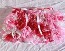 Crochet Ruffle Skirt size 2T.  Sashay yarn.  Frilly fully lined toddler skirt in pinks and white.
