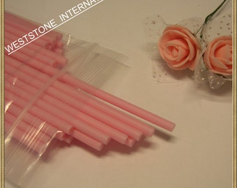 "50pcs 6"" x 5/32"" Plastic  Lollipop Sticks for Cake Pops - Pink"