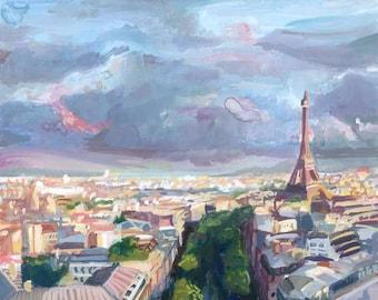 Paris at Sunset, Gouache Original Painting