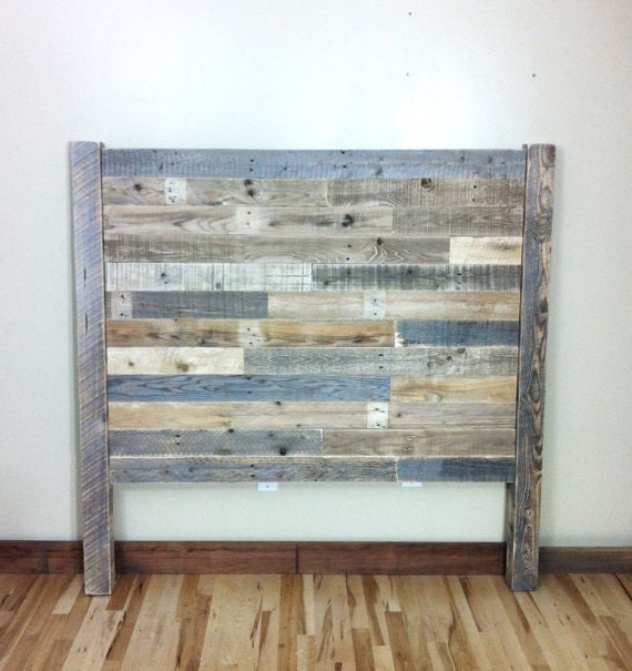 Headboard pallet furniture reclaimed barn wood by for How to make a wood pallet headboard