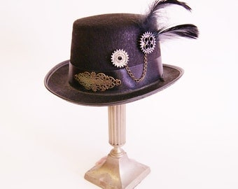 Steampunk  Lady Tophat (Goth, topper, steampunk, black, headpiece )