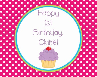 Girl Cupcake Birthday Cupcake Topper or Favor Tag