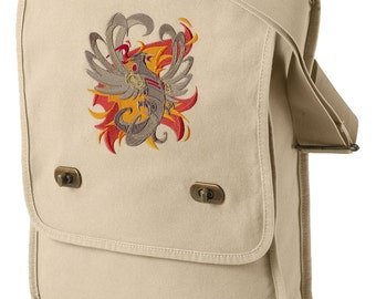 Steampunk Bag, Steampunk Messenger Bag, Steampunk Phoenix Embroidered Canvas Field Bag