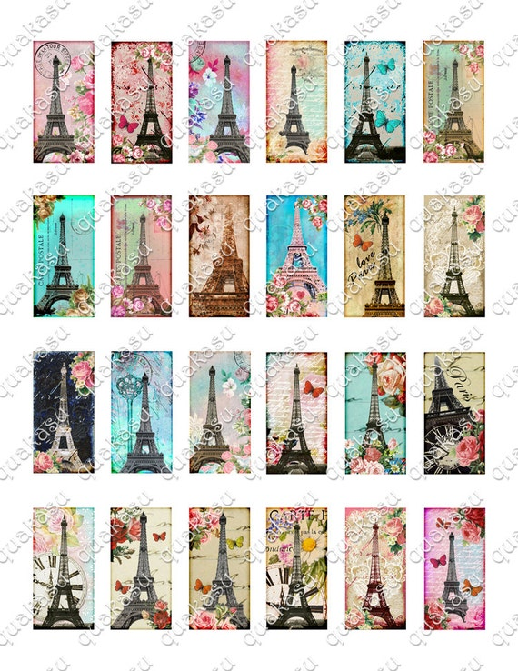 eiffel domino digital collage sheet domino images 1x2 inch dominoes vintage images. Black Bedroom Furniture Sets. Home Design Ideas