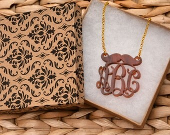 Monogrammed Mustache Tortoise Shell Necklace - Personal HandCrafted Gift