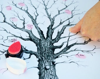 Thumbprint Tree Guest Book with Hand Written Flourished Calligraphy