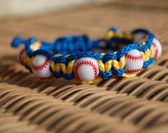 Royal Blue and Yellow Gold Baseball Bracelet