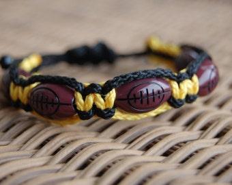 Gold and Black Football Bracelet