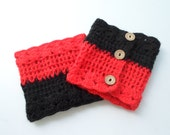 Boot cuff, Crochet boot cuffs, Leg Warmer,Black,Red,Women. which one you want to use that side of,adjustable with buttons, With Free gift