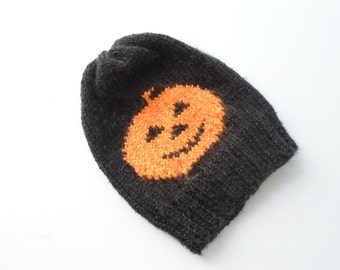 Knitted beanie, Halloween Beanie, Pumpkin hat, Pumpkin beanie, Hand Knitting , Hat, Pumpkin, Teenage, Orange, Black, Horror, With Free Gift