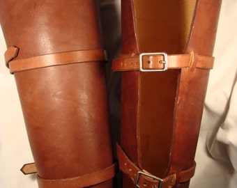 Pair of Leather Leg Guards Greaves LARP Steampunk armor