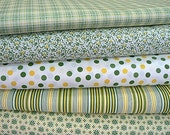 Green and yellow check dots flowers stripes set 50x140 cm / cca 19 x 55in quilting cotton fabrics convo for a bias tape - MargoCreative
