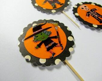 SALE!!! Kids Halloween Cupcake Toppers - Set of 12