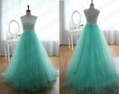 White Lace Emerald Tulle Skirt High Neck Sleeveless Long Evening Dress Prom A Line Floor Length Back Button  For Flower Girl