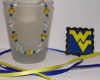 WVU Swarovski crystal bracelet
