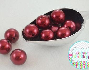 20mm Chunky Acrylic Pearls 10ct, Dark Red, Gumball Beads, Round